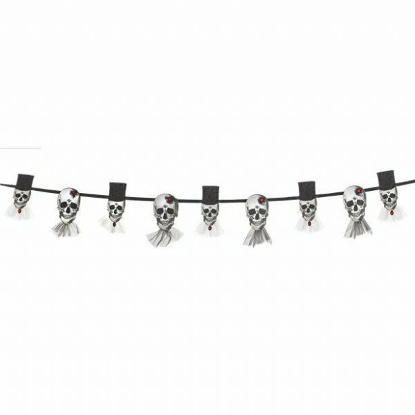 Halloween Bride and Groom Skull Banner (1.8m)